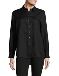 Lord And Taylor Petite Linen Button Down Shirt Black