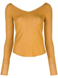 Christophe Lemaire Wide V Neck Jumper Yellow