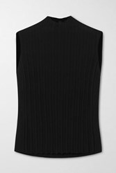 Vince Ribbed Crepe Turtleneck Tank Black