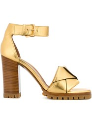 Marni Origami Bow Sandals Yellow And Orange