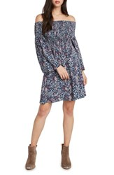 Willow And Clay Smocked Off The Shoulder Dress Denim