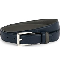 Brioni Reversible Leather Belt Navy Taupe
