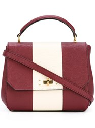 Bally Stripe Detail Small Tote Red
