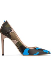 Valentino Paneled Leather And Canvas Pumps Multi