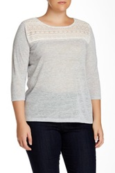 Dantelle 3 4 Length Sleeve Lace Yoke Knit Blouse Plus Size Gray