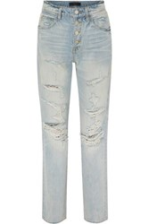 Amiri Distressed High Rise Straight Leg Jeans Indigo