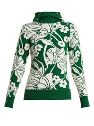 Joostricot Floral Intarsia Cotton Blend Hooded Sweater Green Multi