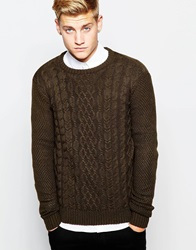 New Look Cable Knit Jumper With Crew Neck Khaki