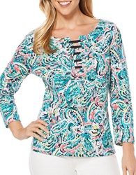 Rafaella Paisley Print Cotton Top Blue