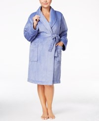 Charter Club Plus Size Super Soft Shawl Collar Short Robe Only At Macy's Hydrangea Blue