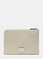 Valentino Perforated Leather Document Case White