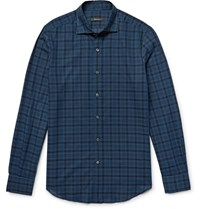 Berluti Slim Fit Checked Cotton Shirt Storm Blue