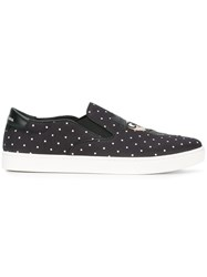 Dolce And Gabbana London Designer's Patch Slip On Sneakers Black