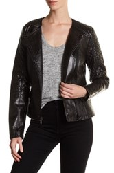 Guess Asymmetrical Zip Faux Leather Jacket Black