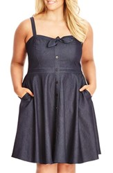 Plus Size Women's City Chic 'Sweet Denim' Fit And Flare Dress