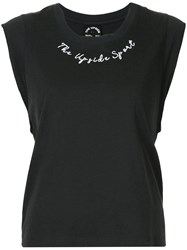 The Upside Embroidered Cap Sleeve T Shirt Black