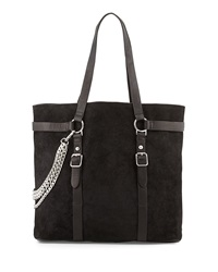 Ash Axel Suede Chain Tote Bag Black