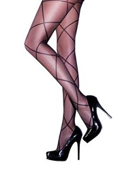 Pretty Polly Sheer Diamond Lace Up Tights Black