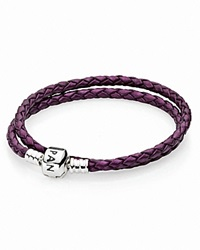 Pandora Design Pandora Bracelet Purple Leather Double Wrap With Sterling Silver Clasp Moments Collection Purple Silver