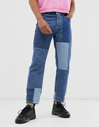 Topman Original Fit Jeans With Patchwork In Blue
