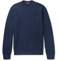 Tod's Slim Fit Basketweave Merino Wool And Silk Blend Sweater Navy