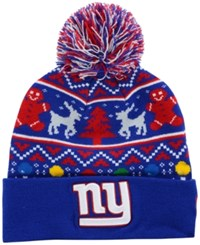 New Era New York Giants Christmas Sweater Pom Knit Hat