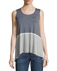 Max Studio Striped Sharkbite Hem Tank Heather Gray Heather Indigo