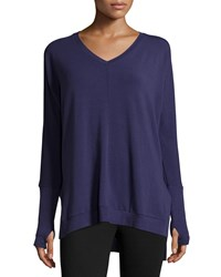 Neiman Marcus Active Terry Cloth V Neck High Low Tunic Navy