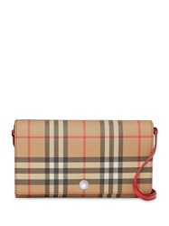 Burberry Vintage Check Wallet With Detachable Strap Neutrals