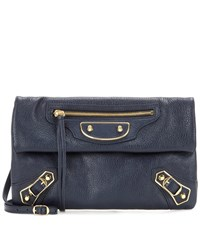 Balenciaga Classic Metallic Edge Envelope Strap Crossbody Bag Blue