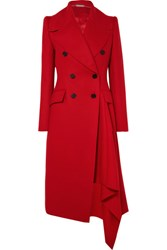 Alexander Mcqueen Double Breasted Asymmetric Wool And Cashmere Blend Coat Red