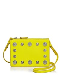 Versus By Versace Lion's Head Square Saffiano Leather Crossbody Yellow Silver