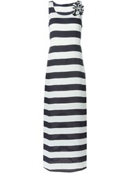 Twin Set Jeans Striped Maxi Dress Blue