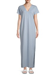 Saks Fifth Avenue V Neck Cotton Long Dress Sky Blue