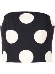 Christian Siriano Polka Dot Print Blouse Black