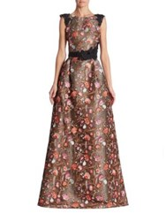 Monique Lhuillier Bright Floral Embroidered Gown Babe Pink
