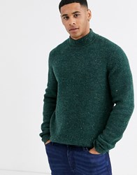 Only And Sons High Neck Fleck Ribbed Knitted Jumper In Green