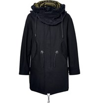 Coach Faux Shearling Trimmed Cotton Twill Hooded Parka Navy