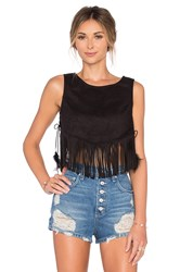 Lucy Paris Cowgirl Suede Fringe Top Black