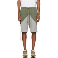 Greg Lauren Green 50 50 Army Terry Shorts