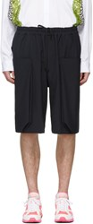 Comme Des Garcons Homme Plus Navy Wool Layered Pockets Shorts