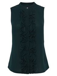 Karen Millen Frill Fashion Blouse Dark Green