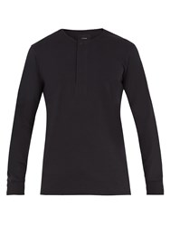 Christophe Lemaire Long Sleeved Cotton Henley Top Black
