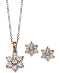 Giani Bernini Cubic Zirconia Flower Pendant Necklace And Stud Earrings Set In 18K Rose Gold Plated Sterling Silver Only At Macy's