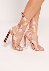 Missguided Block Heel Tie Satin Sandals Rose Gold