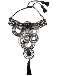 Nightmarket Circle Bib Beaded Tassel Choker Necklace