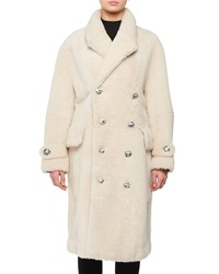 Tom Ford Double Breasted Lamb Shearling Teddy Coat W Crystal Buttons White