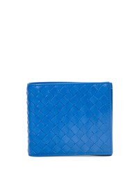 Bottega Veneta Woven Leather Wallet Gray Blue