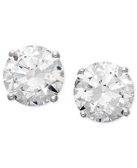 Arabella 14K White Gold Earrings Swarovski Zirconia Round Stud Earrings 3 1 2 Ct. T.W. Clear