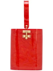 Edie Parker Mini Bucket Bag Red